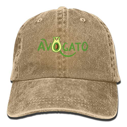 24592474e KD90798 AVO-Gato Avocado Cat Vintage Adjustable Baseball Caps Jeans Peak Cap