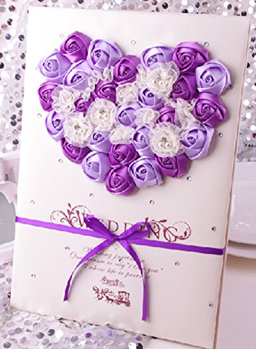 Aimeart European Style Wedding Guest Book With Lace Guest Sign-In Book / Guest Registry / Guestbook for Bridal Shower Party Engagement Party Favors, Dark Purple & Light Purple