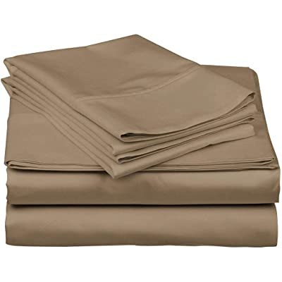 "4 PCs Sheet Set 12/"" Deep Pocket Egyptian Cotton King Size Taupe Solid"