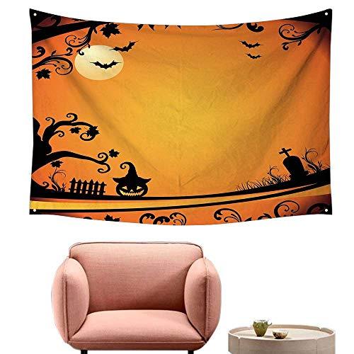 Agoza Fashion Tapestry Vintage Halloween Halloween Themed Image Eerie Atmosphere Gravestone Evil Pumpkin Moon Living Room Background Decorative Painting 59