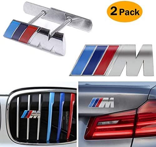2 In 1 BMW M Front Grille Emblem Side Badge Sticker 3D Chrome Badge Metal Power Car Fashion Logo for BMW M M3 M5 X1 X3 X5 X6 E30 E34 E36 E39 E46 E60 E90 E92