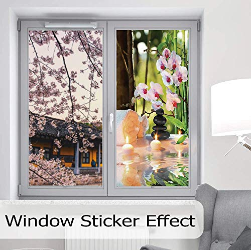 YOLIYANA Static Cling Decorative Window Film,Spa Decor,Suitable for Kitchen, Bedroom, Living Room,Massage Composition Spa with Candles Orchids Stones in,24''x48''