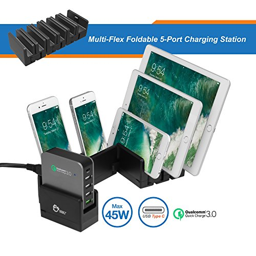 SIIG MultiFlex 5Port Charging Station Power Adapter 5 Output connectors Black, Black/Silver (AC-PW1814-S1)