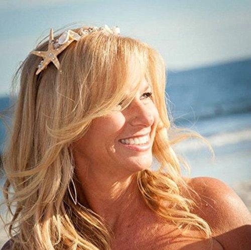 Bridal Headband, Starfish and Rhinestone Tiara, summer wedding, starfish headband, seashell crown