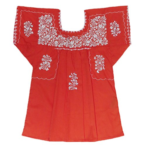 Poplin Wrap Blouse (Mexican Clothing Co Womens Mexican Blouse Traditional San Antonino Poplin Small Orange 6026)