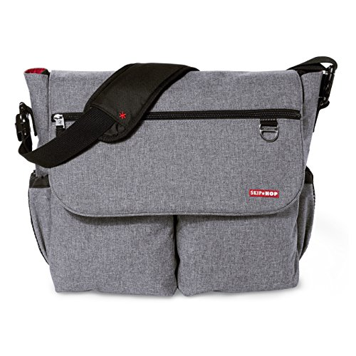 Diaper Dash - Skip Hop Dash Signature Messenger Diaper Bag, Heather Grey