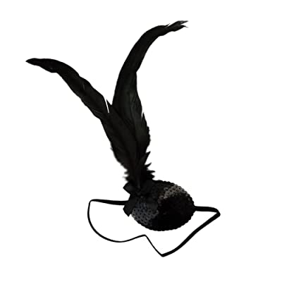Star Power Sultry Black Feather Plume Pirate Queen Sequined Eye Patch: Toys & Games
