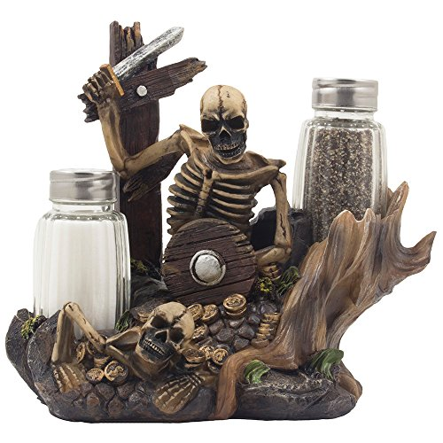 low cost skeleton pirate guarding gold treasure salt and pepper shaker set and decorative figurine display stand holder for halloween decorations or