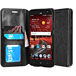 ZTE Grand X4 Case, ZTE Blade Spark Case, Rosebono Fashion Premium Luxury PU Leather Wallet Flip Protective Case Cover with ID CardSlots and Stand for ZTE Grand X4 / ZTE Z956 - Black