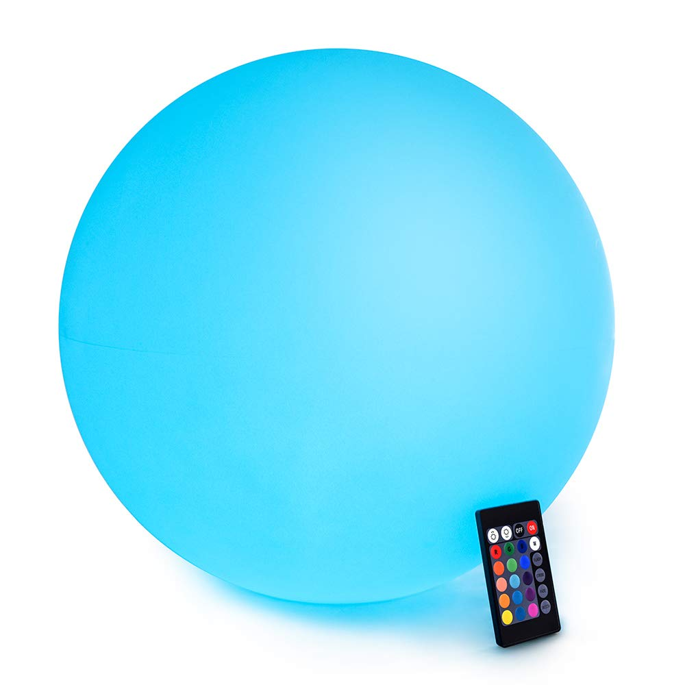 LOFTEK LED RGB Glow Ball: 16-inch Cordless Home Decor Night Lights with Remote Control, Rechargeable Color Changing Orb, for Halloween or Christmas