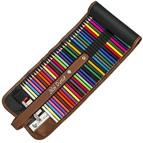 JNW Direct Colored Pencils, Best Coloring Pencil Set for Adults & Kids, Includes 48 Beautiful Colors with BONUS Roll-up Case and Accessories, Great Gift Idea (Cool Colours)