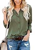 Hiistandd Women Long Sleeve Blouse Tops Basic Simple Button Down Shirt Green