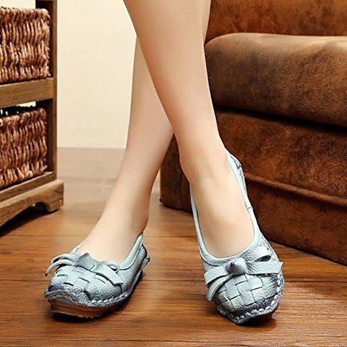 Handa Multifunzionale In Pelle Multiuso Da Donna, Modello New Flower, Slip-on, Scarpe Stile Fannullone Style7-azzurro