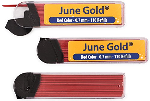June Gold 330 Red Colored Lead Refills, 0.7 mm, Medium Thickness for Delicate/Gentle Use with Convenient Dispensers Mechanical Pencil 7mm Lead Refillable