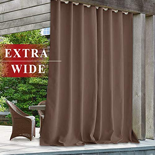 StangH Outdoor Curtains Extra Wide - 100 x 108 inch Heavy Duty Large Curtains for Patio Outdoor Waterproof Blackout Drapes for Pergola/Garden/Exterior Dining, Mocha, 1 Panel (Small Patio Pergola)