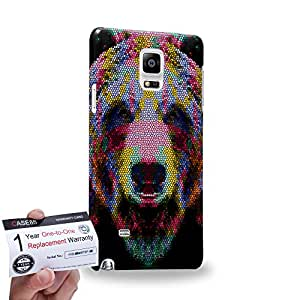 Case88 [Samsung Galaxy Note 4] 3D impresa Carcasa/Funda dura para & Tarjeta de garantía - Art Aztec Design Bear Red and Blue Animal Faces
