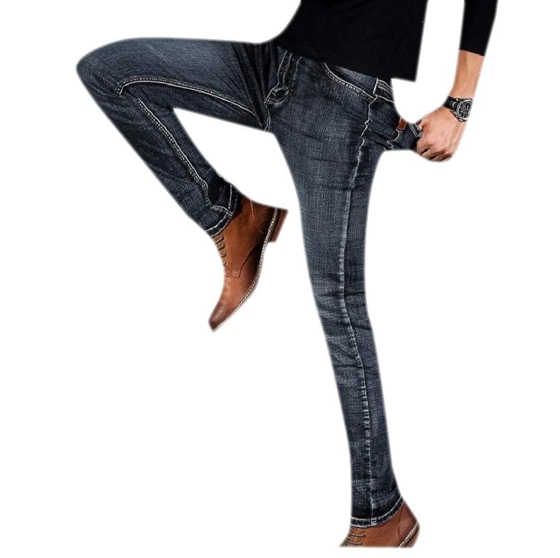 Winwinus Men Casual Trousers Business Work Wear Slim Fitting Jeans Pants