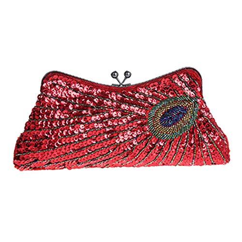 Bag Bag Bridal Fashion Shouldered Bag Sequins Ladies' Red Dress Purse Clutch Peacock Shoulder Dinner Bag Party Cheongsam Beaded Handbag Zero TZTwxqUB4