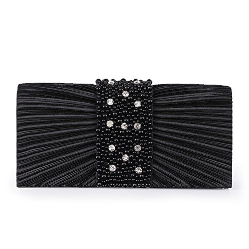 Emour Women's Evening Clutch Bag Stain Beaded Large Wedding Purse Bridal Prom handbag (black)