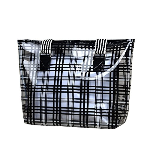 Zicac 2 in 1 Semi-clear Check Pattern Top Handle Bag Tote PVC Beach Handbag (Black)