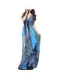 Dasior Women's V Neck Maxi Sleeveless Leopard Printed Beach Bohemian Dress Plus Size