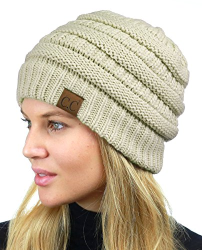 C.C Unisex Chunky Soft Stretch Cable Knit Warm Fuzzy Lined Skully Beanie, Beige