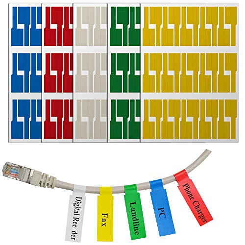 Mr-Label (40 Sheets, 1200 Labels) Assorted Colors Self-Adhesive Cable Label - Waterproof | Tear Resistant | Durable - with Online Print Tool - for Laser Printer