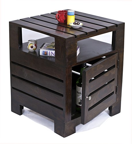 TimberTaste PLANKO Solid Wood Side Table (Lacquer Finish, Brown)