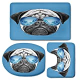 3 Piece Bath Mat Rug Set,Pug,Bathroom Non-Slip Floor Mat,Pug-Portrait-with-Mirror-Sunglasses-Hand-Drawn-Illustration-of-Pet-Animal-Funny,Pedestal Rug + Lid Toilet Cover + Bath Mat,Pearl-Blue-Black