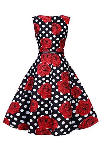 Babyonlinedress Vestido vintage y casual cuello redondo sin mangas espalda de cierre vestido de coctel fiesta rockabilly 4