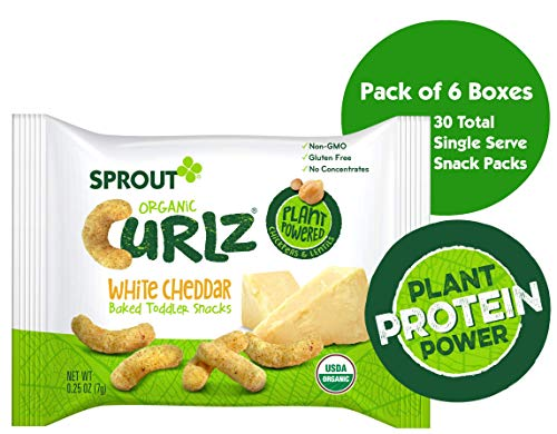 (Sprout Organic Curlz Toddler Snacks, White Cheddar, 5 Count Box of 0.25 Ounce Single Serve Packets (Pack of 6 Boxes))