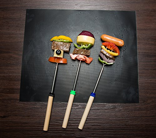 Aoocan Marshmallow Roasting Sticks Telescoping Rotating Smores Skewers Hot Dog - 32 inches - Set of 8 Smores Sticks for fire Pit, Campfire, Camping, Bonfire and Grill 5 SAFE FOR CHILDREN: With these extending 32 inch Marshmallow Roasting Sticks, you can ensure that your child is always at a safe distance from fire, while roasting Marshmallows and hot dogs. Also, these multi-colored smores sticks have NON-SHARP tips, to prevent children from being injured. PREMIUM QUALITY, UNIQUE DESIGN - These Marshmallow Roasting Sticks are made of Non-Toxic Heat-Treated FDA Approved 304 Stainless Steel. They are very easy to clean! The wooden handles with different color coding, which helps keep track for the kids or adults. We created the perfect distance between the prongs for best roasting results. SET OF 8 HIGHEST QUALITY 34-INCH EXTENDABLE MARSHMALLOW ROASTING STICKS: Stainless Steel metal, non-toxic forks ensure no rusting & safe roasting. This telescoping retracting fork design is convenient for camping trips, fishing trips, backpacking, or home storage. The set also includes a free portable bag.