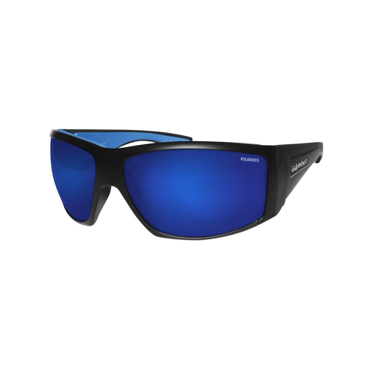 Bomber Sonnenbrille – Ahi matt schwarz FRM Blau Mirror Polarized Lens Schaumstoff blau