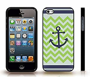 iStar Cases? iPhone 4 Case with Chevron Pattern Grey/ Lime Green/ Navy Blue Stripe Navy Blue Anchor Black , Snap-on Cover, Hard Carrying Case (Black)