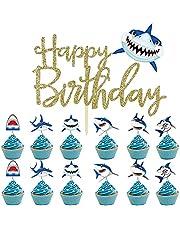 Cymeosh 19 stuks haai taarttopper haai cake cupcake picks zeedieren taartsteker dieren Happy Birthday taartdecoratie voor baby shower kinderen verjaardag oceaan party muffin decoratie