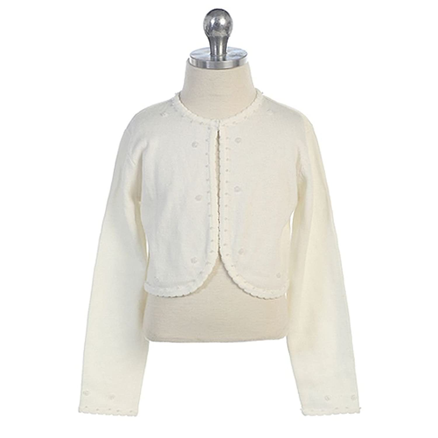 Amazon.com: Chic Baby Toddler Girls Ivory Beaded Bolero Shrug ...