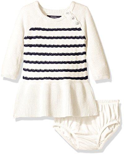 Nautica Baby Raglan Sweater Dress with Rope Stripe Full Rib Skirt, Cream, 24 (Rope Stripe)