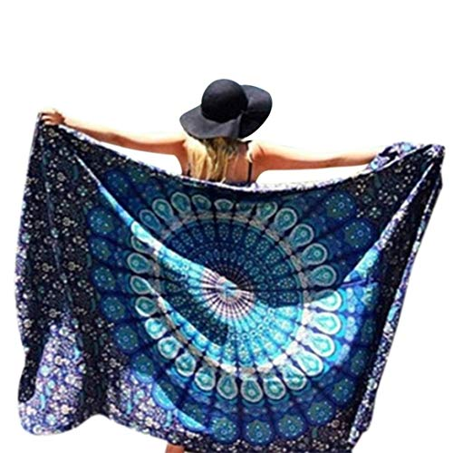 Usstore 148cmX210cm Bohemian Round Hippie Beach Throw Pool Home Beach Cover Up Dress Swimwear Bathing Suit Kimono Tunic Yoga Mat Fringing - Inch High Dividers 60