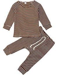Infant Kids Clothing Baby Boys Girls Cute Stripe Long Sleeve Pajamas Set Sleepwear Nightwear Outfits Clothes