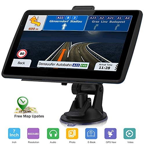 GPS Navigation for Car, 7-inch HD GPS 256-8GB Voice Broadcast Navigation, top-Loading North America map (USA, Canada, Mexico map) Lifetime map Free Update