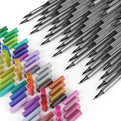 ARTEZA Fineliners Fine Point Pens, Set of 72 Fine Tip Markers with 0.4mm Tips & Sure Grip Ergonomic Barrels, Brilliant Assorted Colors for Coloring, Drawing & Detailing + Sturdy Metal Storage Case by ARTEZA (Image #6)