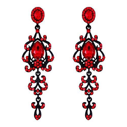 Crystal Rhinestone Victorian Style - BriLove Wedding Bridal Dangle Earrings for Women Victorian Style Crystal Teardrop Chandelier Earrings Ruby Color Black-Silver-Tone
