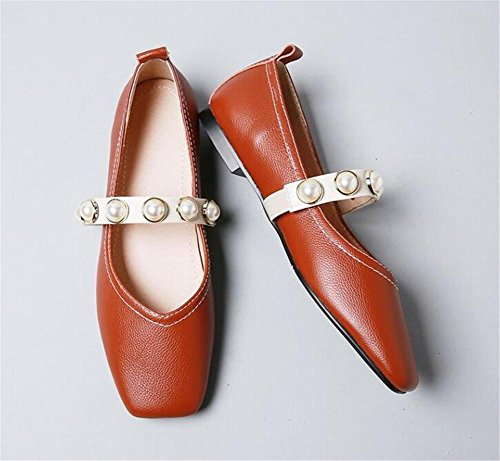 Instep de Pearl Tamaño 35 genuina piel 39 XIE Correa plana Punta a cuadrada Retro mujer Zapatos nUgqz8