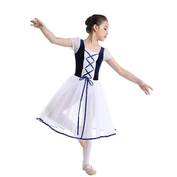inhzoy Vestido de Danza Clásica para Niña Maillot Ballet con Falda Disfraz de Bailarina Vestido Tutú de Princesa Disfraz Bailarina Traje de Actuación ...