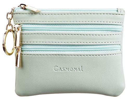 Casmonal Womens Genuine Leather Coin Change Purse Pouch Slim Minimalist Front Pocket Wallet Key Ring (Green Light)