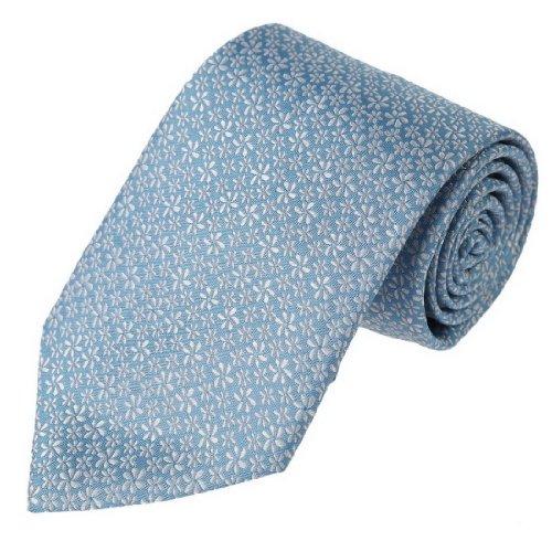 FAA2059 Sky Blue White Floral Luxury Brand Woven Silk Mens Necktie Business Gift Idea By - Online Luxury Shopping Brand