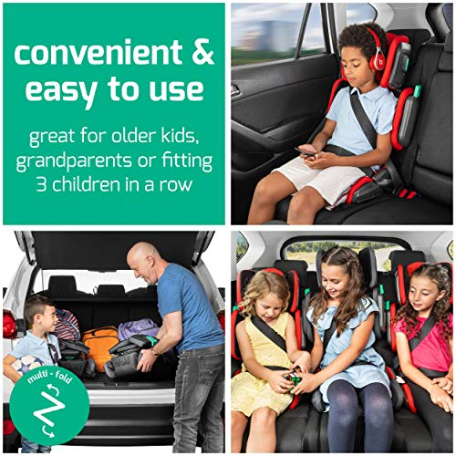 51vKUXGMIAL - Hifold Fit-and-fold Highback Booster Seat, Racing Red – Adjustable Highback Booster Car Seat For Everyday, Carpooling And More – Foldable Booster Seat For Travel