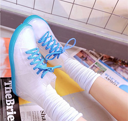 Boots Ankle Shoes Blue Non PVC Women Rainboots Water Heels Slip Believed Flat Rain Woman Glossy Waterproof AEZdFA6q
