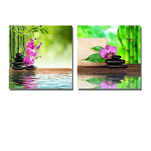 Pink Orchid Black Stone and Bamboo on Water Spa Treatment Wall Decor ation x 2 Panels