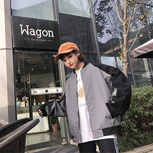Giacche Donna Giacca Fashion Lunga Colori Grau Manica Autunno Pilot Misti Cappotto Bomber Casual Relaxed Di Mode Marca College Ragazze Zip qrXdqE